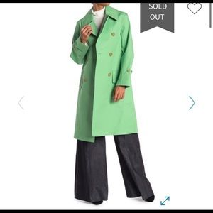 Burberry Notch Collar Bright Green Trench Coat